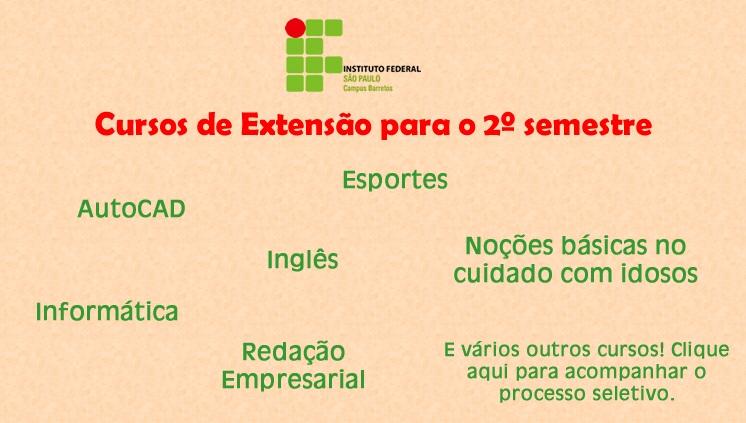 Cursos de extensão - 2º semestre 2018