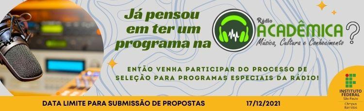 Chamada Pública - Seleção de programas especiais para a Rádio Acadêmica